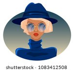 blonde in blue sweater and hat  ... | Shutterstock .eps vector #1083412508