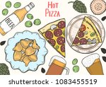 colored food set for pub design ... | Shutterstock .eps vector #1083455519