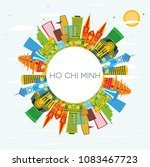 ho chi minh skyline with color... | Shutterstock .eps vector #1083467723