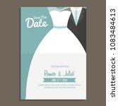wedding invitation design with... | Shutterstock .eps vector #1083484613