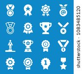 set of 16 award filled icons... | Shutterstock . vector #1083485120