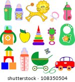 icon set of toys and... | Shutterstock .eps vector #108350504