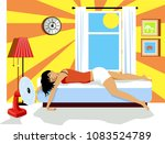 young woman exhausted from heat ... | Shutterstock .eps vector #1083524789