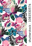 tropical summer pattern with... | Shutterstock .eps vector #1083530576
