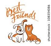 Stock vector best friends little pets animals dog cat puppy kitten 108354086