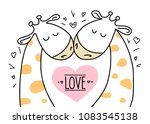two cute giraffes on white... | Shutterstock .eps vector #1083545138