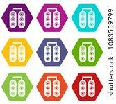traffic light icons 9 set...