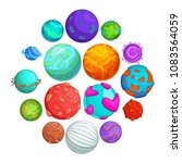 fantastic planets icons set.... | Shutterstock .eps vector #1083564059