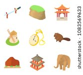 multiethnic icons set. cartoon... | Shutterstock .eps vector #1083569633