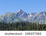 mountains above a green forest | Shutterstock . vector #108357383