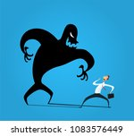 businessman frightened with his ... | Shutterstock . vector #1083576449