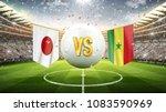 japan vs senegal. soccer... | Shutterstock . vector #1083590969