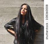 beautiful brunette with long... | Shutterstock . vector #108360008