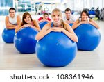 group of people in a pilates... | Shutterstock . vector #108361946