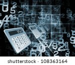 Backdrop of numbers and fractal elements on the subject of computers, science, math and modern technology - stock photo