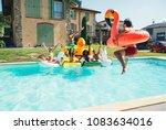 group of friends having fun in... | Shutterstock . vector #1083634016