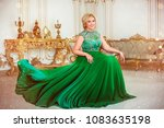 charming blonde woman in long... | Shutterstock . vector #1083635198