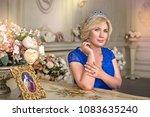portrait of delightful blonde... | Shutterstock . vector #1083635240
