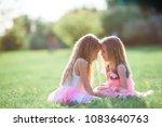 adorable little girls on... | Shutterstock . vector #1083640763