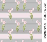 gray background with pink tulip | Shutterstock .eps vector #1083642950