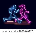 a man and women running   neon... | Shutterstock .eps vector #1083646226