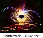 Composition of eye outlines, fractal and abstract design elements suitable as a backdrop for the projects on modern technologies, artificial intelligence, virtual reality and digital imaging - stock photo