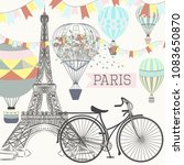 fashion poster with eiffel... | Shutterstock .eps vector #1083650870