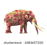 elephant with flowers isolated...   Shutterstock . vector #1083657320