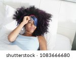 lazy black girl with blindfold... | Shutterstock . vector #1083666680