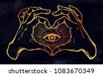 two hands making heart sign... | Shutterstock .eps vector #1083670349