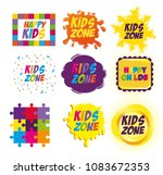 happy kids zone labels | Shutterstock .eps vector #1083672353
