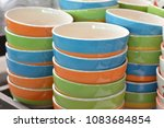 colorful  cups  arranged  in ... | Shutterstock . vector #1083684854