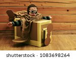 childhood and happiness. boy in ... | Shutterstock . vector #1083698264