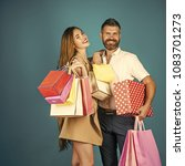 couple in love hold shopping... | Shutterstock . vector #1083701273