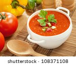 gazpacho and ingredients on a... | Shutterstock . vector #108371108