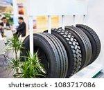 wheelbarrow tire truck in car... | Shutterstock . vector #1083717086