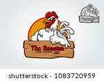 A Happy Cartoon Rooster Giving...