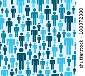 Social media blue people seamless pattern. Vector file layered for easy manipulation and custom coloring.