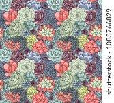 succulents seamless pattern.... | Shutterstock . vector #1083766829