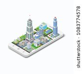 three dimensional building on a ... | Shutterstock .eps vector #1083774578