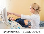 ultrasound test. pregnancy.... | Shutterstock . vector #1083780476