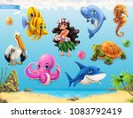 little girl with a seashell.... | Shutterstock .eps vector #1083792419