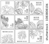 set of stylish black floral... | Shutterstock . vector #1083808106