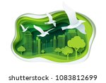 paper carve to bird and park on ... | Shutterstock .eps vector #1083812699