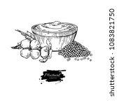 mustardi sauce in bowl vector... | Shutterstock .eps vector #1083821750