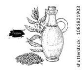 bottle of sesame oil with plant.... | Shutterstock .eps vector #1083821903
