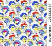 fashion girl seamless pattern.... | Shutterstock .eps vector #1083833894
