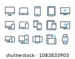 device related line icon set.... | Shutterstock .eps vector #1083833903