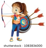 an archer girl with white... | Shutterstock .eps vector #1083836000