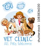 cute pets clinic  welcome sign... | Shutterstock .eps vector #1083836030